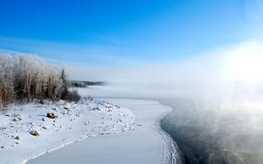 Картинка снег, озеро, мороз