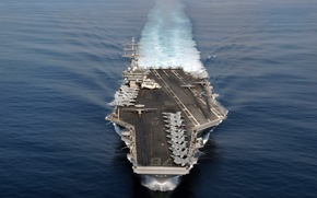 Картинка fighter, aircraft, helicopter, aircraft carrier, US Navy, USS Ronald Reagan, RIM-116 missile launchers, 200 officers ...