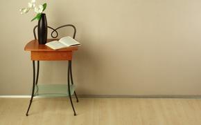 Обои цветы, дизайн, стиль, интерьер, книга, ваза, орхидеи