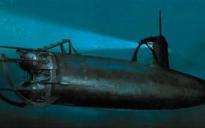 Картинка war, art, painting, ww2, submarine, navy, japanese submarine, imperial japanese navy