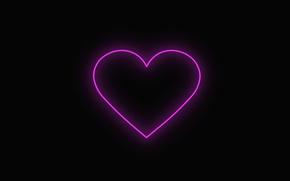 Картинка любовь, сердце, неон, love, чёрный фон, neon