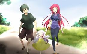 Картинка девушка, девочка, парень, прогулка, anime, art, втроем, yusa emi, hataraku maou-sama!, arras ramus, maou sadao