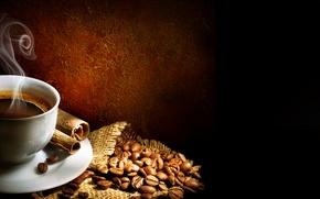 Обои палочки, cinnamon, мешочек, пена, блюдце, foam, корица, steam, cup, пар, coffee beans, чашка, зёрна, кофе, ...