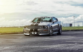 Картинка Mustang, Ford, muscle car, front, silvery, обвес, 550R