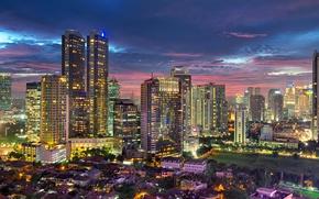 Обои city, город, огни, здания, дома, небоскребы, вечер, освещение, Индонезия, мегаполис, evening, столица, capital, Джакарта, Indonesia, ...
