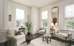 Картинка стиль, диван, кресло, зеркало, вазон, гостиная