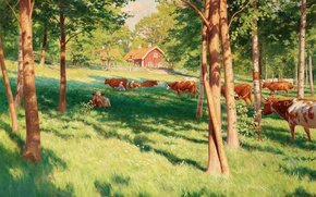 Картинка лес, лето, деревья, пейзаж, дом, картина, ограда, коровы, деревня, пастбище, луг, Johan Krouthen