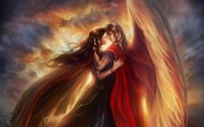 Картинка девушка, любовь, небеса, крылья, платье, Парень