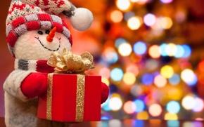 Картинка огни, коробка, елка, новый год, Рождество, снеговик