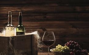 Картинка вино, бокал, виноград, пробки, бутылки, ящик