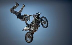 Картинка небо, прыжок, спорт, мотоцикл