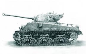 Картинка рисунок, войны, танк, средний, M4 Sherman, периода, мировой, Второй, «Шерман»