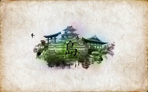 Обои китай, B82, дворец, остров, сад, ласточка