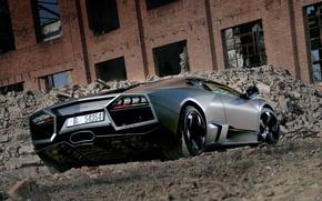 Обои развалины, Lamborghini, Reventon, черный