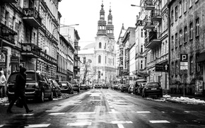 Картинка тротуар, магазины, дома, дорога, машины, пешеход, люди, Poznan, Познань, Poland, улица, город, Польша