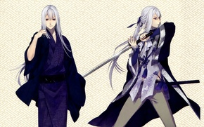 Картинка узор, катана, кимоно, белые волосы, мечник, visual novel, ken ga kimi, saneaki kuroba