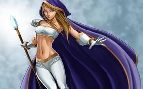 Обои грудь, девушка, посох, плащ, талия, дота, Crystal Maiden, DotA, Defense of the Ancients, рулайка, Rylai ...