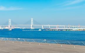Картинка море, небо, мост, город, корабль, дома, Япония, Yokohama Bay Bridge, Иокогама
