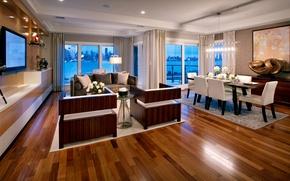 Картинка стол, комната, окна, телевизор, кресла, шторы, квартира, гостиная, город.