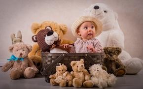 Картинка игрушки, девочка, шляпка, корзинка, мишки, плюшевые мишки