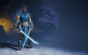 Обои мечи, Sub-Zero, холод, ниндзя, Mortal Kombat, Саб-Зиро