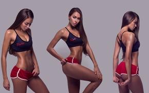 Картинка девушка, фон, коллаж, спорт, модель, фотошоп, макияж, фигура, стройная, брюнетка, прическа, шортики, спортивная, топик, фитнес, …