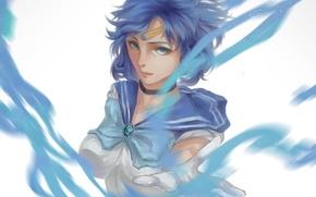 Картинка девушка, аниме, арт, форма, школьница, Bishoujo Senshi Sailor Moon, mizuno ami, sailor mercury