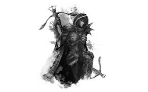 Обои demon hunter, охотник на демонов, арт, арбалеты, доспехи, eksfo, девушка, Diablo III