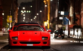 Картинка капли, ночь, город, улица, мокрая, Ferrari, F 40