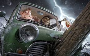 Обои машина, авария, радость, брызги, смерть, страх, дождь, молния, череп, бутылка, мужик, арт, алкоголь, бревно