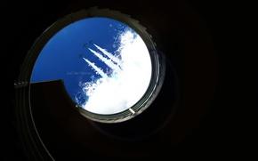 Картинка небо, надпись, тень, минимализм, самолеты, лестница, шахта