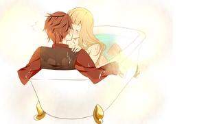 Картинка девушка, любовь, поцелуй, аниме, пара, ванна, парень