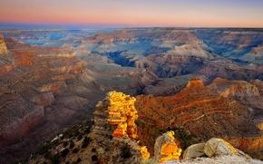 Картинка небо, закат, горы, горизонт, каньон, америка