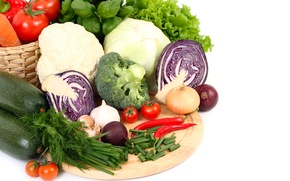 Картинка фото, Овощи, Помидоры, Еда, Лук репчатый, Капуста