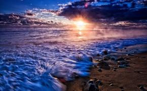 Картинка песок, море, небо, вода, солнце, облака, пейзаж, природа, река, фон, widescreen, обои, wallpaper, широкоформатные, background, …