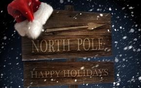 Обои зима, снег, ветер, праздник, шапка, новый год, стрелка, указатель, северный полюс, вьюга, new year, санта ...