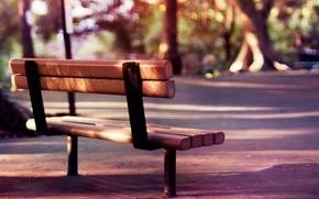Обои лето, деревья, скамейка, природа, фон, отдых, widescreen, романтика, настроения, спокойствие, размытие, весна, утро, день, лавочка, ...