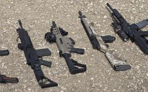 Картинка оружие, фон, пистолеты, автоматы
