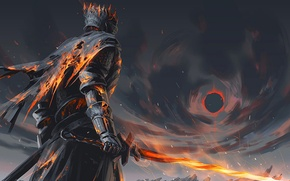 Картинка fire, sword, fantasy, game, armor, art, painting, artwork, warrior, fantasy art, Dark Souls, cape, flaming …