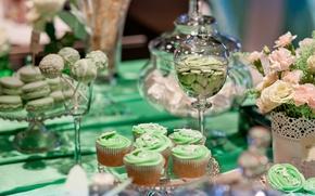 Картинка цветы, праздник, розы, конфеты, свадьба, сладкое, декор, кексы
