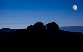 Картинка горы, ночь, скала, луна, силуэт, каньон, USA, Arizona, Sedona