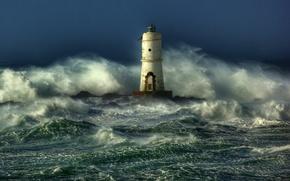 Картинка море, волны, шторм, маяк