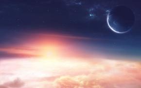Картинка звезды, облака, свет, восход, планеты, space, light, stars