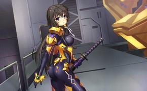 Картинка грудь, взгляд, девушка, оружие, удивление, костюм, art, takamura yui, muv-luv alternative, dance of eternity