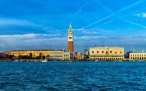 Картинка Дворец, Италия, Венеция, канал, кампанила, Дожей, колокольня собора Святого Марка
