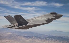 Обои полет, истребитель, пилот, бомбардировщик, Lightning II, Lockheed Martin, F-35A