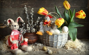 Картинка игрушки, яйца, курица, кролик, Пасха, тюльпаны, верба