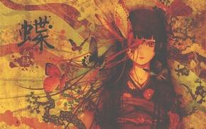 Картинка девушка, кимоно, иероглиф