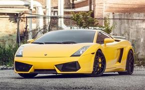 Картинка жёлтый, Lamborghini, Gallardo, ламборджини, yellow, front, галлардо