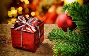 Картинка ветка, Новый год, new year, боке, bokeh, Merry Christmas, Счастливого Рождества, branch, красные шары, red …